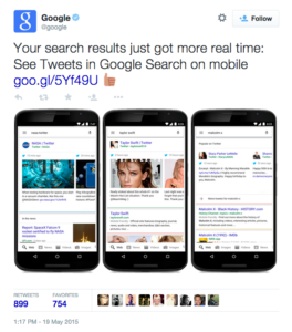 real time tweets appear in Google search results